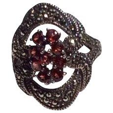 Vintage Sterling Silver Faux Garnet & Marcasite Ring Size 8
