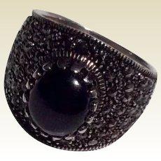 Vintage Sterling Silver Black Onyx & Marcasite Ring