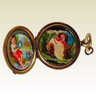 Victorian Gold Filled Double Photo Locket With Hand Painted Miniatures