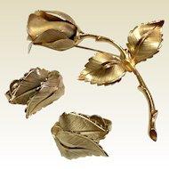 Vintage Gold Tone Metal Giovanni Rose Brooch & Earrings