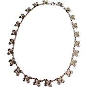 Vintage Silver Tone Metal Dogwood Necklace