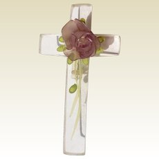Vintage Lucite Floral Cross Brooch Pin