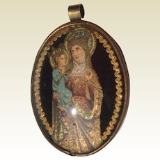 French Ex Voto Die Cut Saint Anne Holding Her Daughter Mary