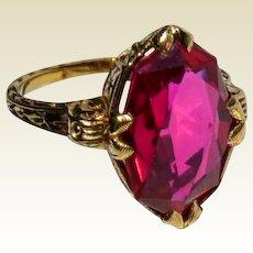 Allsopp Bros. Art Deco 10 K Simulated Ruby Ring