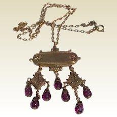 West German Brass & Amethyst Glass Pendant Necklace