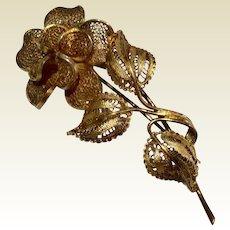 Vintage Gilt Silver Filigree Rose Brooch