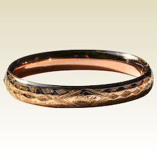 Vintage 14 K Gold Filled Hinged Bangle Bracelet