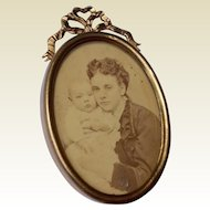 Victorian Gold Plated And Lacquered Brass Oval Frame