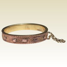 Antique Etruscan Rose Gold And Gold Filled Bangle Bracelet