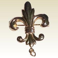 Vintage Gold Filled Fleur D Lis Watch Pin Brooch