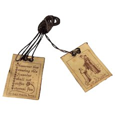 Vintage Scapular  Our Lady Of Mount Carmel And St. Simon Stock