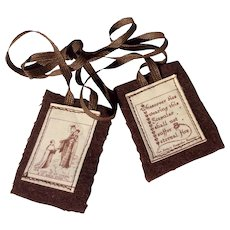 Vintage 1940's Scapular Our Lady Of Mount Carmel And St. Simon Stock