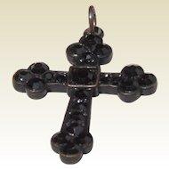 Vintage Black Rhinestone Mourning Cross