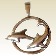 Vintage Sterling Silver Dolphin Pendant