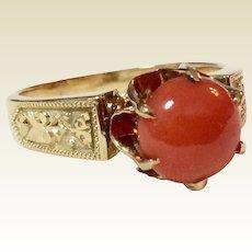 Victorian 18 K Gold Natural Coral Cabochon Ring