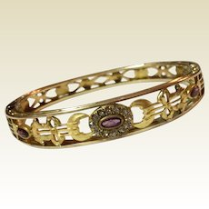 Vintage Gold Filled Amethyst Paste And Clear Paste Hinged Bangle Bracelet