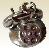 Vintage Sterling Silver Rotary 3 D Mechanical Telephone