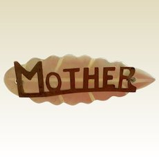 Vintage Mother Of Pearl Gold Filled Mother Name Pin Brooch