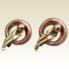 Pair Vintage Van Dell  Two Tone 12 K Gold Filled Pins