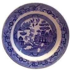 """Early English 9 1/2"""" Blue Willow Transferware  Soup Bowl"""
