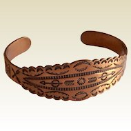 Vintage Native American Indian Copper Cuff Bracelet