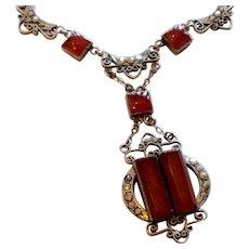 Art Deco Sterling Silver Marcasite Carnelian Necklace