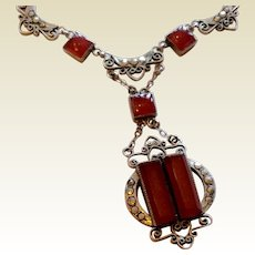 Art Deco Sterling Silver Marcasite Carnelian Necklace