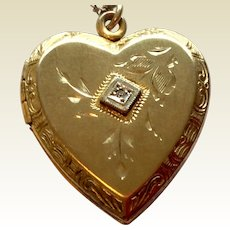 Vintage Gold Filled Heart Shaped Double Photo Locket With Center Paste Stone & Chain