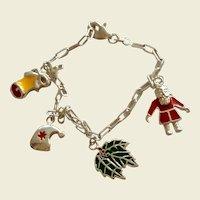 Sterling Enamel Christmas Charm Bracelet