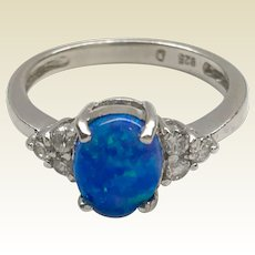 Vintage Sterling Silver Lab Created Opal & Faux Diamond Ring
