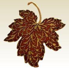 Vintage 1985 Enamel Gold Tone Medal Signed Leaf Brooch