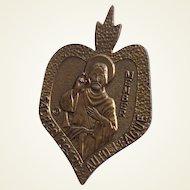 Vintage Catholic Sacred Heart Auto League Member Auto Metal Stick On Medal