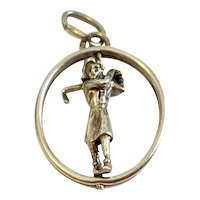 Vintage 3 D Mechanical Lady Golfer Charm