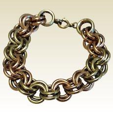Vintage Krementz Rose Gold & Yellow Gold Filled Double Link Bracelet