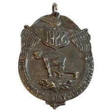Rare Vintage 1922 Bronze Color Sterling Silver Independence Day Association 80 K Medal