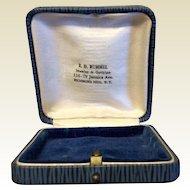 Vintage Blue Leatherette Jewelry Display Presentation Box