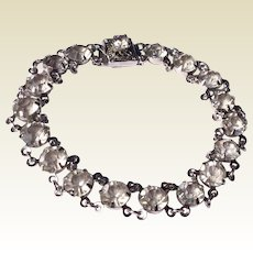 Vintage Silver Tone Metal Clear Sparkling Rhinestone Bracelet With 12 K White Gold Filled Clasp