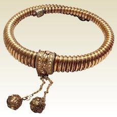 Antique Victorian Etruscan Revival Gold Filled Bypass Wrap Bracelet