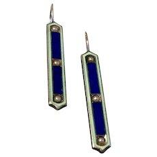 Vintage Sterling Silver Enamel Seed Pearl Baby Pins Conversion Earrings