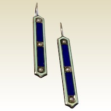 Vintage Sterling Silver Enamel Seed Pearl Baby Pins Conversion Earrings