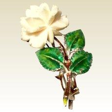 Art Deco 1930's Sterling Silver Carved Bone Rose Enameled Flower Pin Brooch Germany