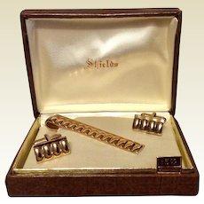 Vintage Gold Tone Medal Shields Tie Bar & Cufflinks In Original Box