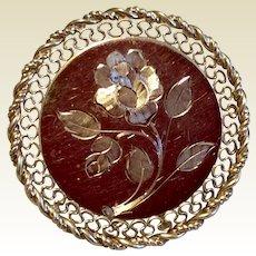 Vintage Winard 12K Gold Filled Circle Floral Brooch