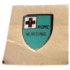 Vintage Silver Tone Metal Enamel Home Nursing Pin/Brooch On Original Card