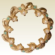 Vintage Gold Tone Faux Seed Pearl & Faux Turquoise Circle Brooch