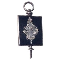 Vintage Sterling Silver Black Enamel Polish Junior League Pin/Brooch