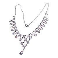Silver Tone Sparkling Rhinestone Bib Necklace
