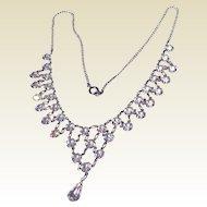Vintage Silver Tone Metal Sparkling Rhinestone Bib Necklace