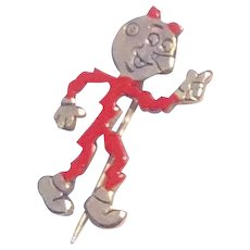 Vintage 1940's Reddy Kilowatt Red Enamel Advertising Pin