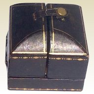 Vintage Brown Leather Ring Presentation Display Box With Gold Gilt Accents
